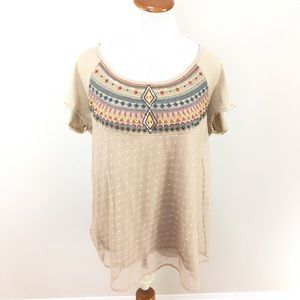 Anthro Lilka Embroidered Lace Short Sleeve Top